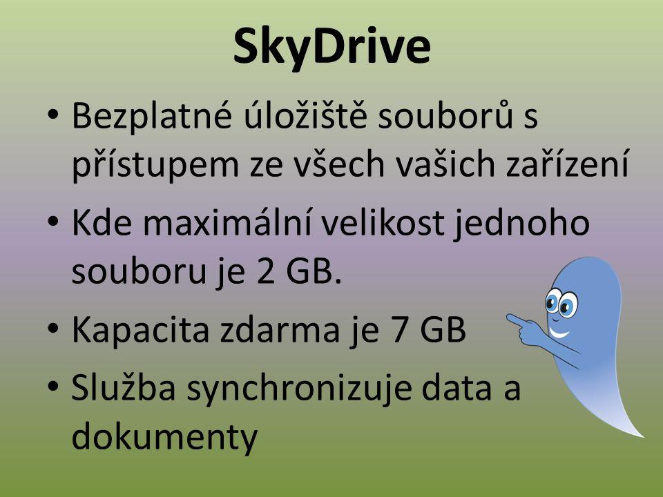 SkyDrive umožňuje On-line prezentace fotografií nebo zobrazení Sdílení souborů a fotek Dokumenty si můžete prohlížet a upravovat pomocí webového prohlížeče a bezplatných webových aplikací Office Web Apps.