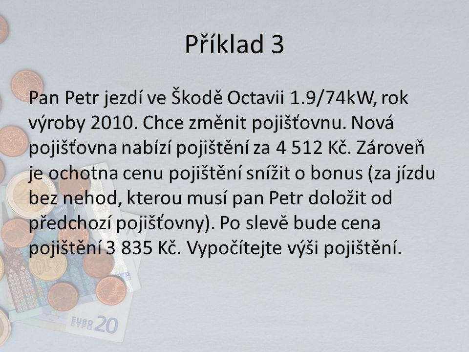 Příklad 3 Pan Petr jezdí ve Škodě Octavii 1.9/74kW, rok výroby 2010.