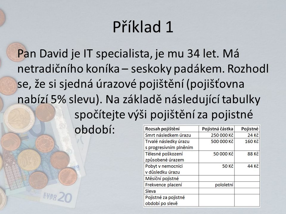 Příklad 1 Pan David je IT specialista, je mu 34 let.
