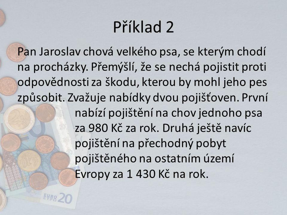Příklad 2 Pan Jaroslav chová velkého psa, se kterým chodí na procházky.