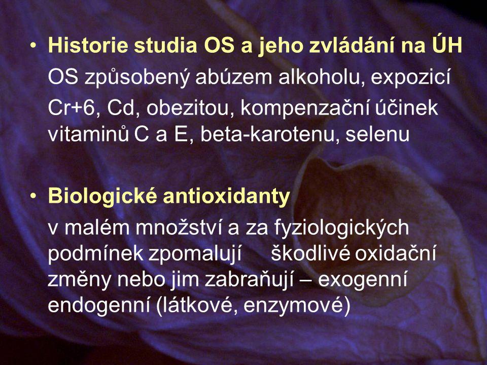 Historie studia OS a jeho zvládání na ÚH OS způsobený abúzem alkoholu, expozicí Cr+6, Cd, obezitou, kompenzační účinek vitaminů C a E, beta-karotenu, selenu Biologické antioxidanty v malém množství a za fyziologických podmínek zpomalují škodlivé oxidační změny nebo jim zabraňují – exogenní endogenní (látkové, enzymové)