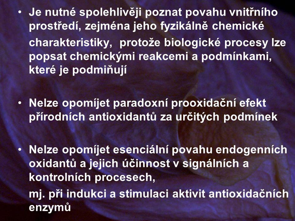 Je nutné spolehlivěji poznat povahu vnitřního prostředí, zejména jeho fyzikálně chemické charakteristiky, protože biologické procesy lze popsat chemickými reakcemi a podmínkami, které je podmiňují Nelze opomíjet paradoxní prooxidační efekt přírodních antioxidantů za určitých podmínek Nelze opomíjet esenciální povahu endogenních oxidantů a jejich účinnost v signálních a kontrolních procesech, mj.