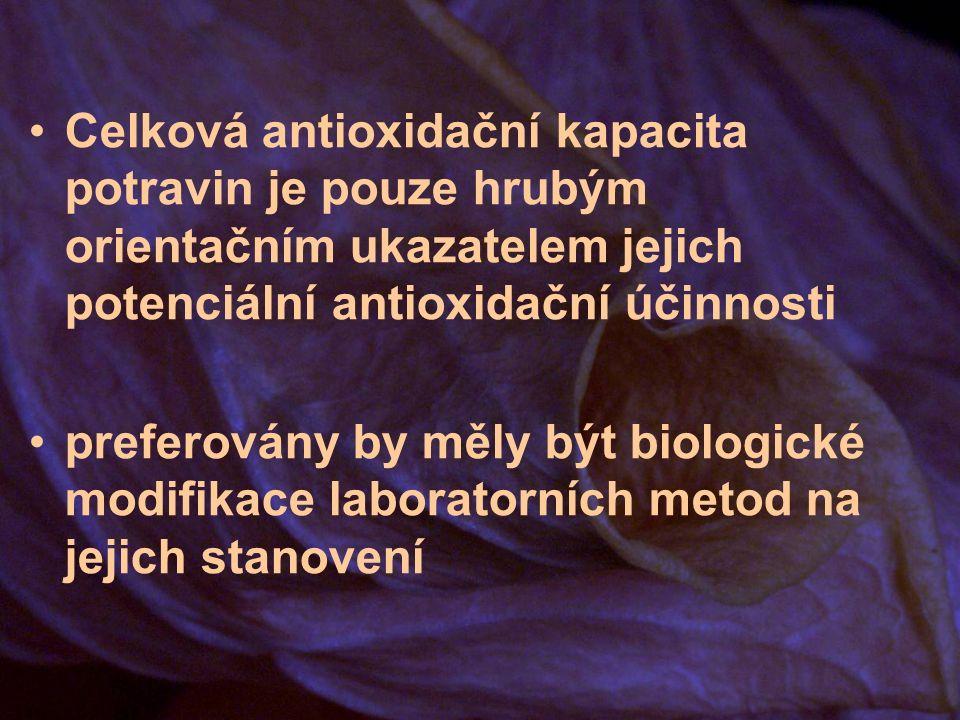 Celková antioxidační kapacita potravin je pouze hrubým orientačním ukazatelem jejich potenciální antioxidační účinnosti preferovány by měly být biologické modifikace laboratorních metod na jejich stanovení