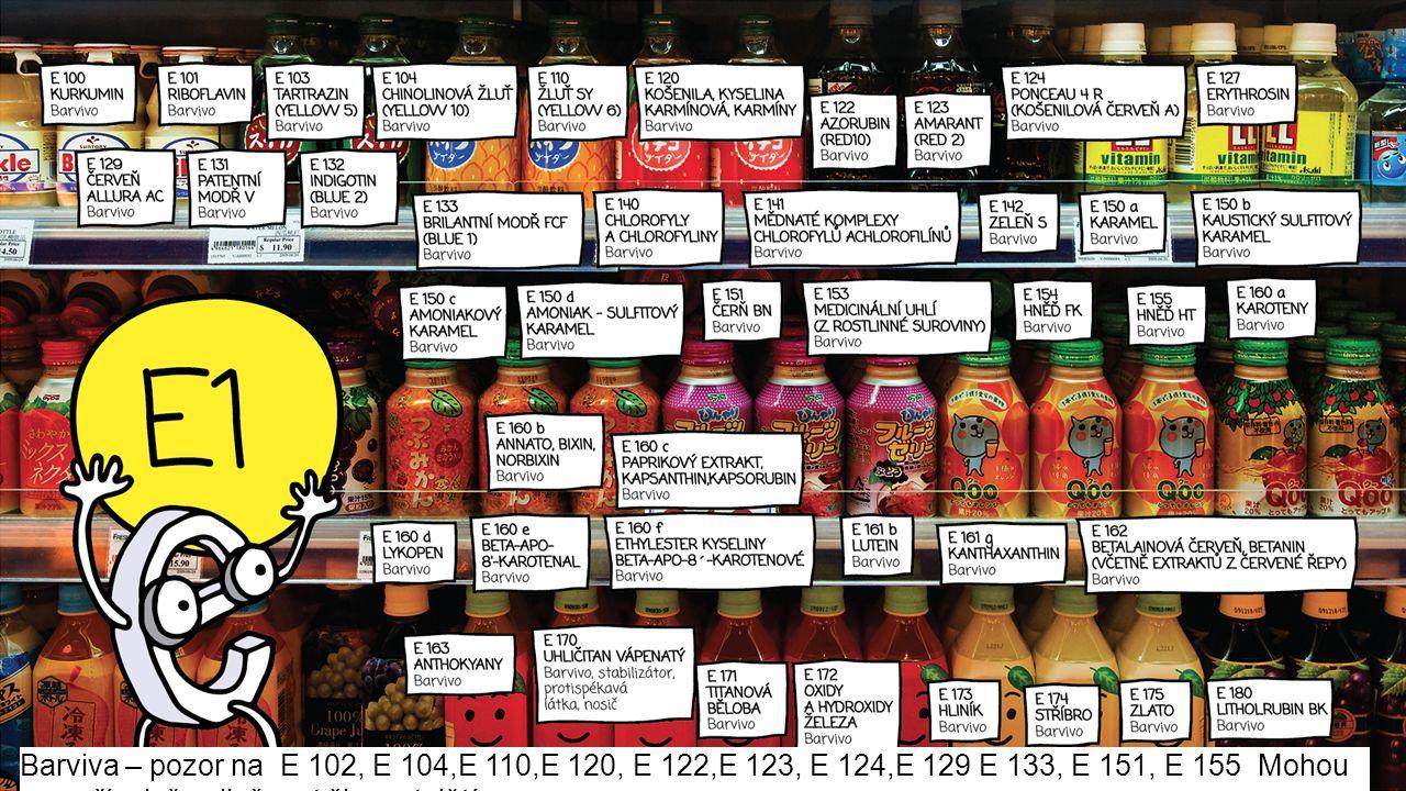 Barviva – pozor na E 102, E 104,E 110,E 120, E 122,E 123, E 124,E 129 E 133, E 151, E 155 Mohou nepříznivě ovlivňovat činnost dětí