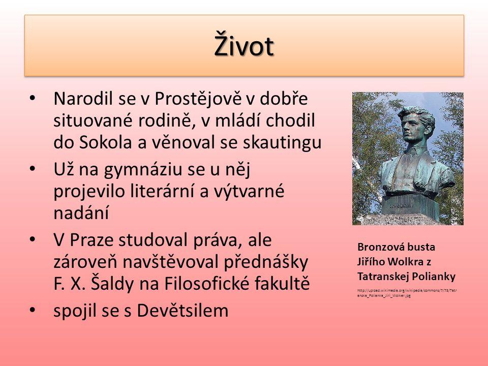 ŽivotŽivot 1921 vstoupil do KSČ Devětsil opustil poté, co se tento umělecký spolek přiklonil k poetismu 1923 onemocněl tuberkulózou, asi rok se léčil dlouho pobýval v Tatranské Poljance 1924 zemřel Podobizna Jiřího Wolkera na http://czechfolks.