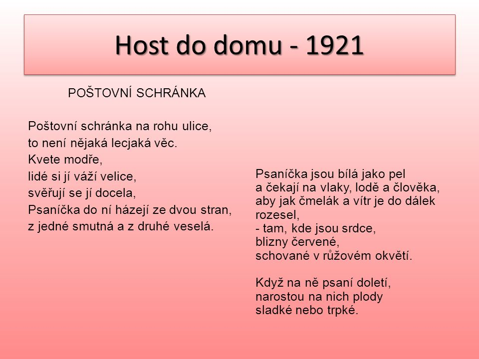Host do domu - 1921 ŽNĚ Slunce je veliký básník a napsalo krásnou báseň zlatým perem na naši zem.