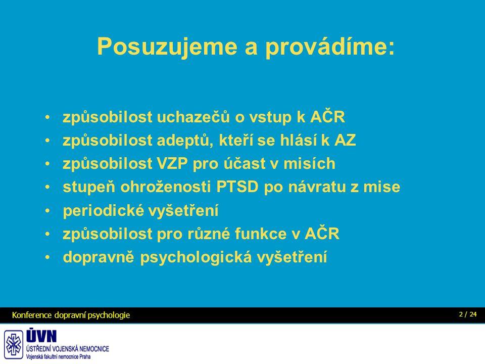 Posuzujeme a provádíme: způsobilost uchazečů o vstup k AČR způsobilost adeptů, kteří se hlásí k AZ způsobilost VZP pro účast v misích stupeň ohroženosti PTSD po návratu z mise periodické vyšetření způsobilost pro různé funkce v AČR dopravně psychologická vyšetření Konference dopravní psychologie 2 / 24