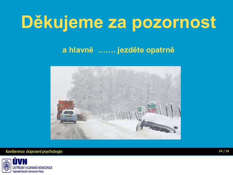Konference dopravní psychologie 24 / 24 Děkujeme za pozornost a hlavně ……. jezděte opatrně