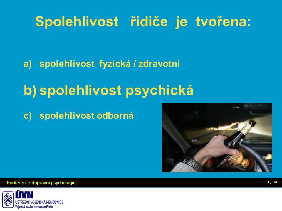 Spolehlivost řidiče je tvořena: a)spolehlivost fyzická / zdravotní b)spolehlivost psychická c)spolehlivost odborná Konference dopravní psychologie 3 / 24