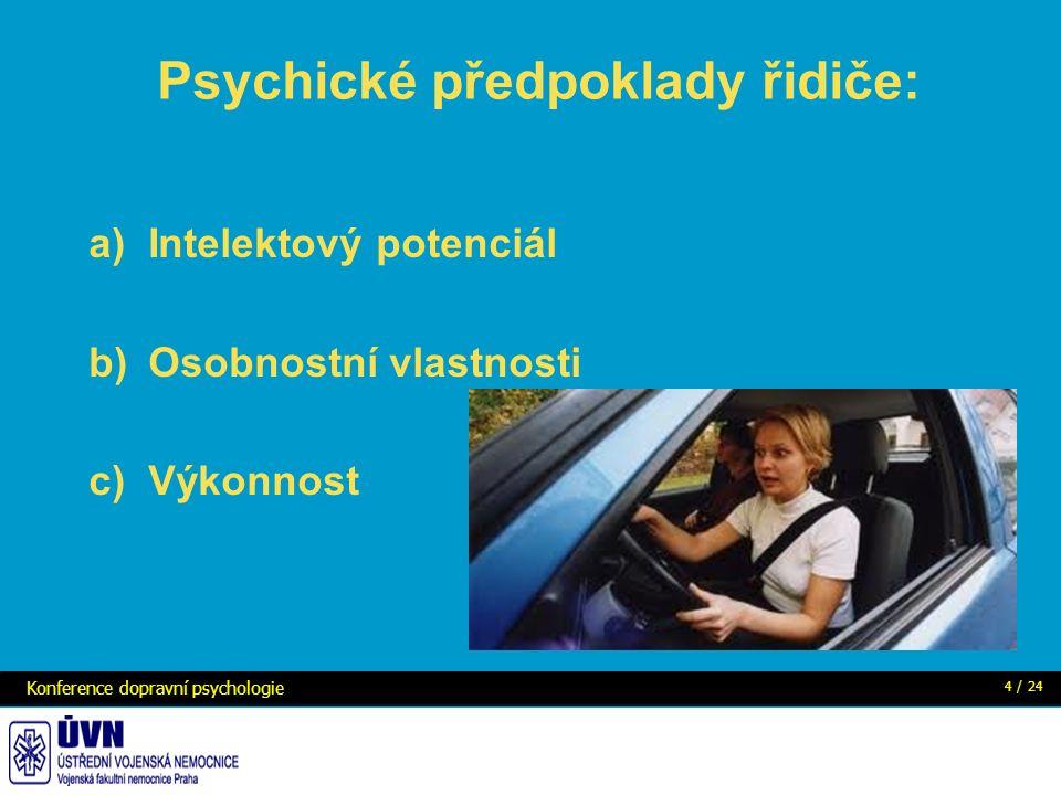 Psychické předpoklady řidiče: a)Intelektový potenciál b)Osobnostní vlastnosti c)Výkonnost Konference dopravní psychologie 4 / 24