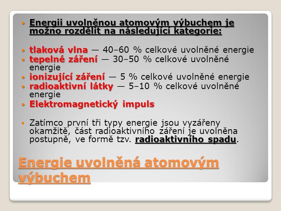 Energie uvolněná atomovým výbuchem Energii uvolněnou atomovým výbuchem je možno rozdělit na následující kategorie: Energii uvolněnou atomovým výbuchem je možno rozdělit na následující kategorie: tlaková vlna tlaková vlna — 40–60 % celkové uvolněné energie tepelné záření tepelné záření — 30–50 % celkové uvolněné energie ionizující záření ionizující záření — 5 % celkové uvolněné energie radioaktivní látky radioaktivní látky — 5–10 % celkové uvolněné energie Elektromagnetický impuls Elektromagnetický impuls radioaktivního spadu Zatímco první tři typy energie jsou vyzářeny okamžitě, část radioaktivního záření je uvolněna postupně, ve formě tzv.