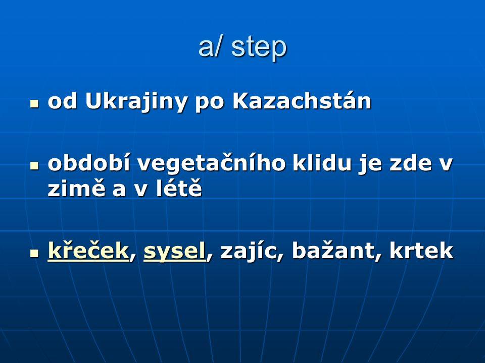 a/ step od Ukrajiny po Kazachstán od Ukrajiny po Kazachstán období vegetačního klidu je zde v zimě a v létě období vegetačního klidu je zde v zimě a v