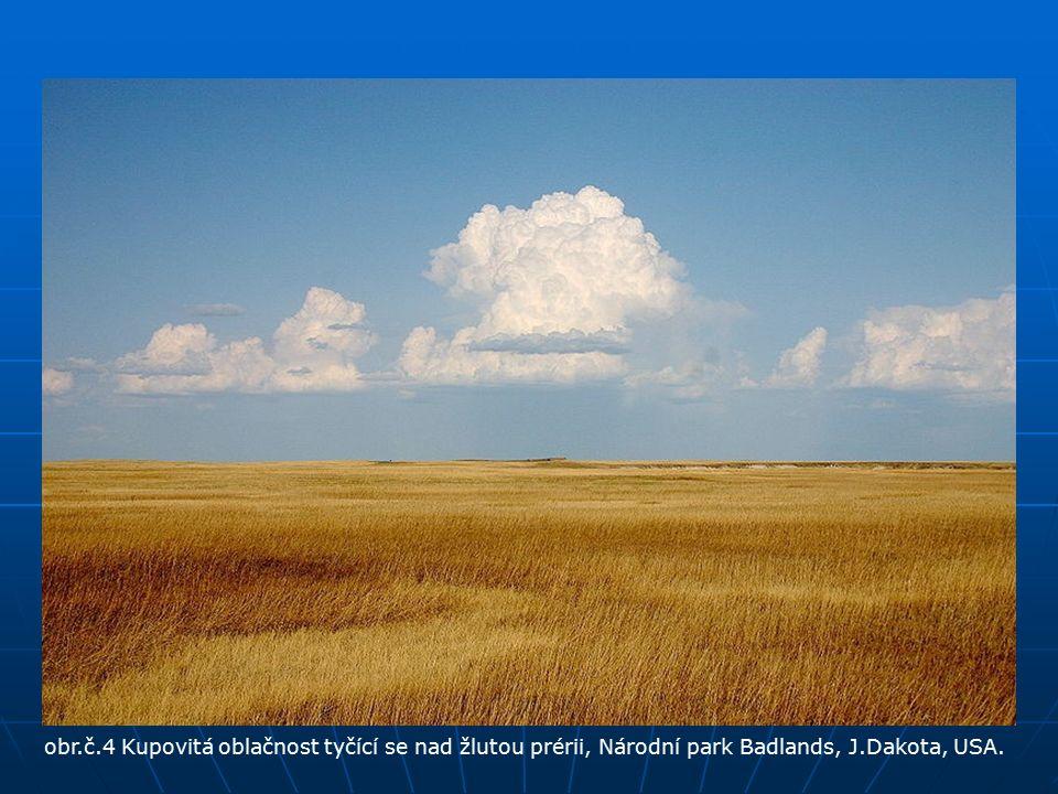 obr.č.4 Kupovitá oblačnost tyčící se nad žlutou prérii, Národní park Badlands, J.Dakota, USA.