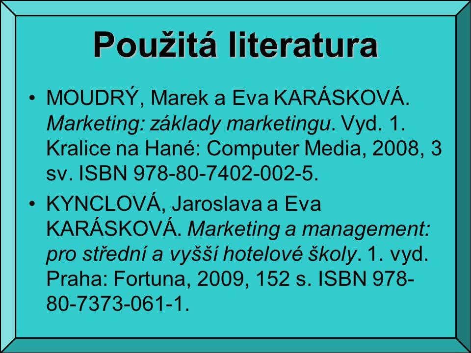 Použitá literatura MOUDRÝ, Marek a Eva KARÁSKOVÁ. Marketing: základy marketingu.