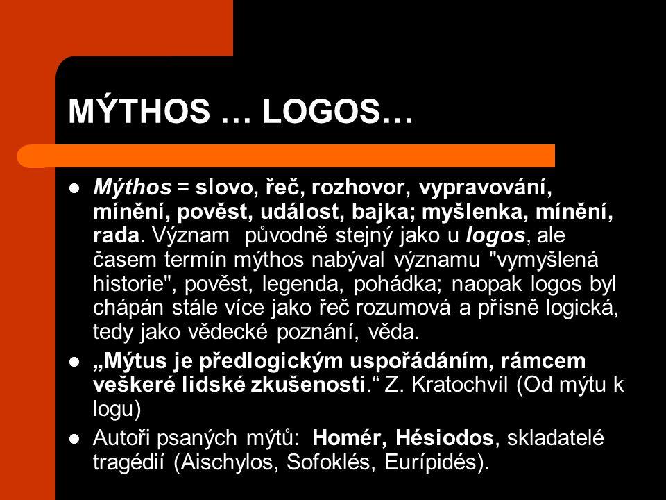 MÝTHOS … LOGOS… Mýthos = slovo, řeč, rozhovor, vypravování, mínění, pověst, událost, bajka; myšlenka, mínění, rada.