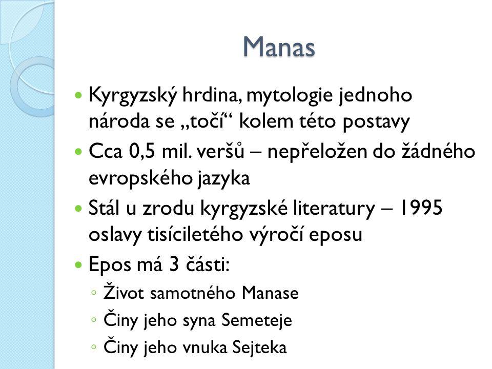 """Manas Kyrgyzský hrdina, mytologie jednoho národa se """"točí kolem této postavy Cca 0,5 mil."""