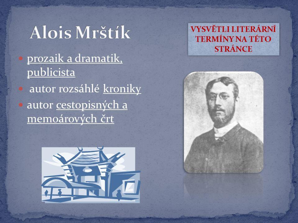 prozaik, dramatik, překladatel (z ruského jazyka) autor impresionisticky laděných románů – Pohádka máje VYSVĚTLI LITERÁRNÍ TERMÍNY NA TÉTO STRÁNCE