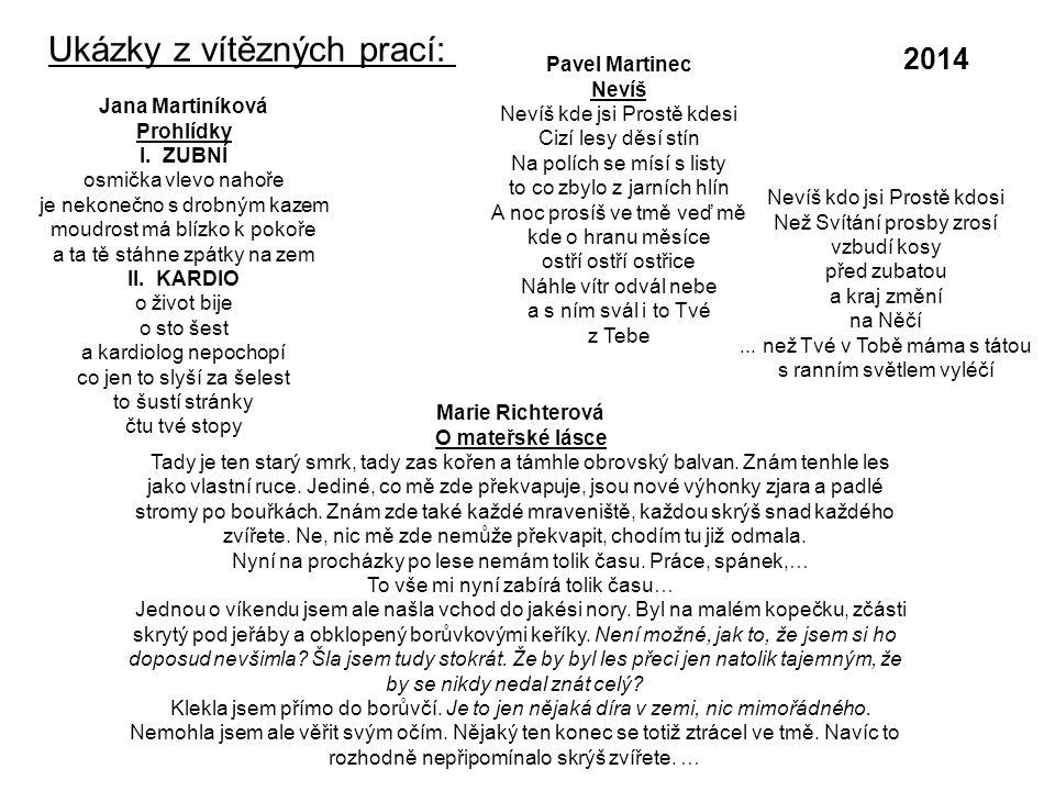 Ukázky z vítězných prací: Jana Martiníková Prohlídky I.
