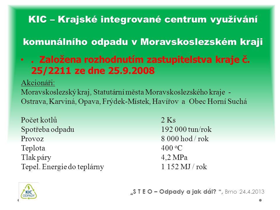 . Založena rozhodnutím zastupitelstva kraje č. 25/2211 ze dne 25.9.2008 KIC – Krajské integrované centrum využívání komunálního odpadu v Moravskoslezs