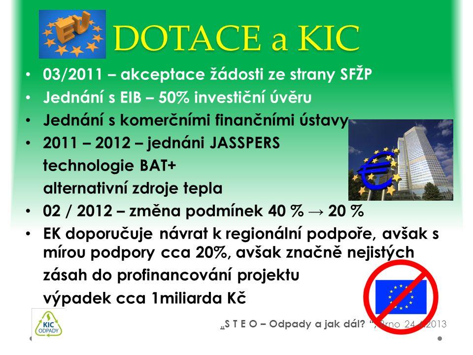 03/2011 – akceptace žádosti ze strany SFŽP Jednání s EIB – 50% investiční úvěru Jednání s komerčními finančními ústavy 2011 – 2012 – jednáni JASSPERS