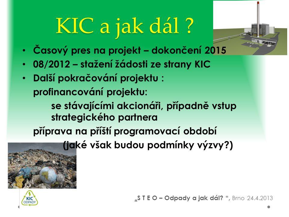 KIC a jak dál ? Časový pres na projekt – dokončení 2015 08/2012 – stažení žádosti ze strany KIC Další pokračování projektu : profinancování projektu: