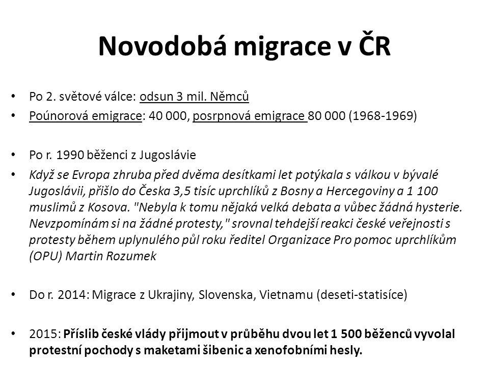 Novodobá migrace v ČR Po 2. světové válce: odsun 3 mil.
