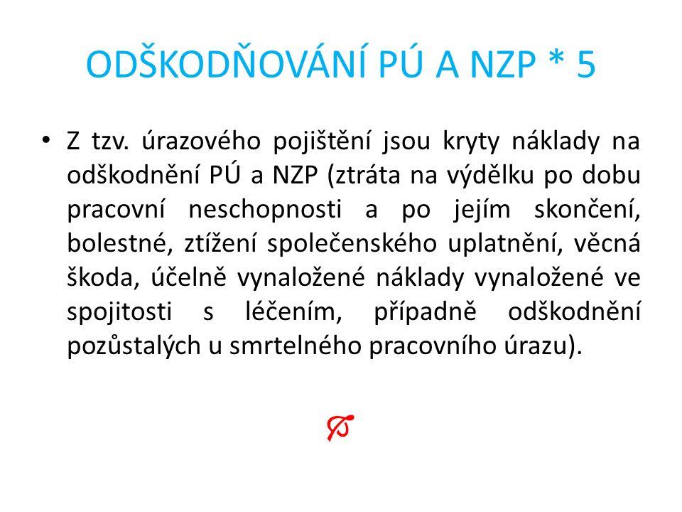 ODŠKODŇOVÁNÍ PÚ A NZP * 5 Z tzv.