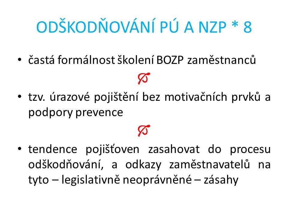 ODŠKODŇOVÁNÍ PÚ A NZP * 8 častá formálnost školení BOZP zaměstnanců  tzv.
