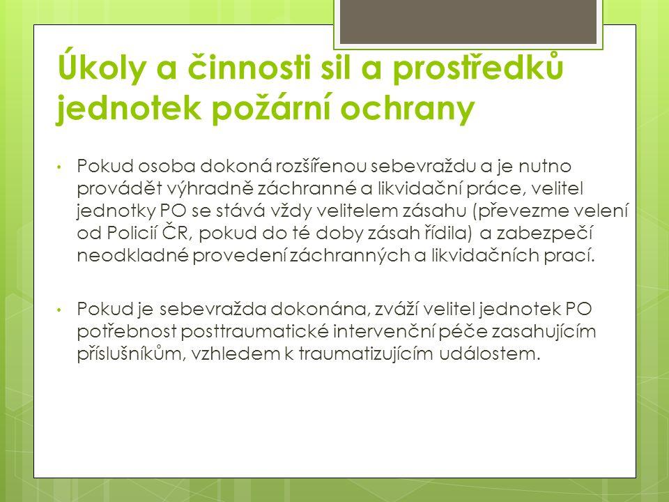 Úkoly a činnosti sil a prostředků jednotek požární ochrany Pokud osoba dokoná rozšířenou sebevraždu a je nutno provádět výhradně záchranné a likvidační práce, velitel jednotky PO se stává vždy velitelem zásahu (převezme velení od Policií ČR, pokud do té doby zásah řídila) a zabezpečí neodkladné provedení záchranných a likvidačních prací.