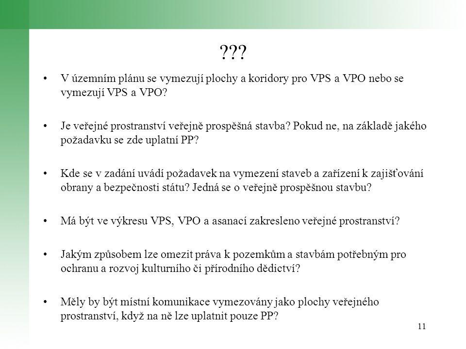 ??.V územním plánu se vymezují plochy a koridory pro VPS a VPO nebo se vymezují VPS a VPO.