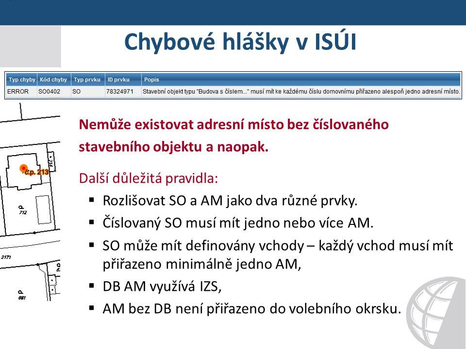 Chybové hlášky v ISÚI Nemůže existovat adresní místo bez číslovaného stavebního objektu a naopak.