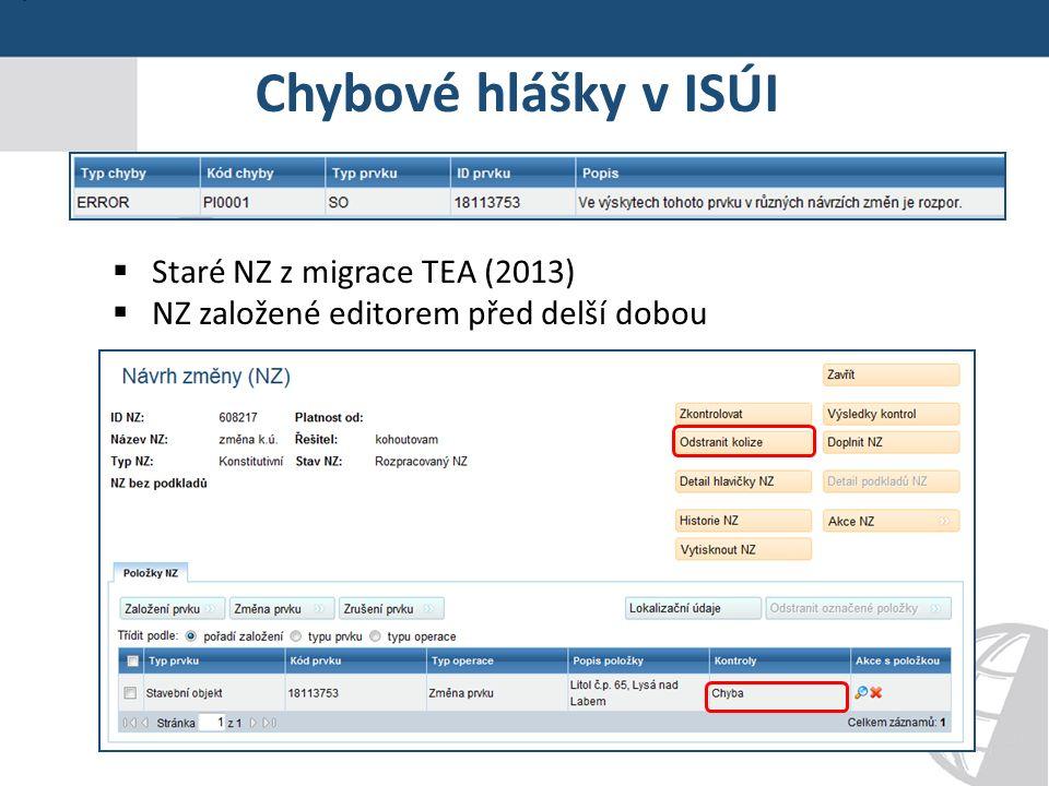 Chybové hlášky v ISÚI  Staré NZ z migrace TEA (2013)  NZ založené editorem před delší dobou