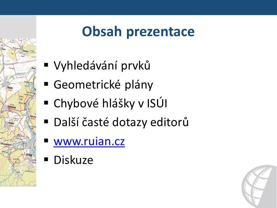 Obsah prezentace  Vyhledávání prvků  Geometrické plány  Chybové hlášky v ISÚI  Další časté dotazy editorů  www.ruian.cz www.ruian.cz  Diskuze
