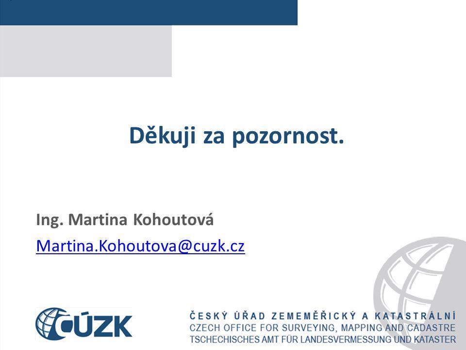 Děkuji za pozornost. Ing. Martina Kohoutová Martina.Kohoutova@cuzk.cz