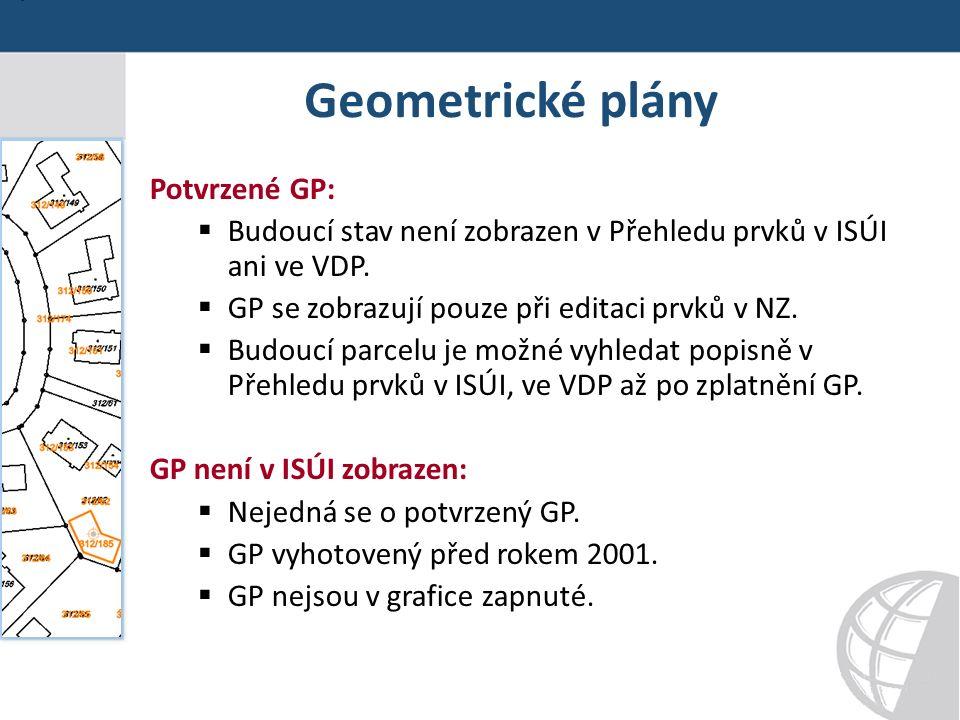 Geometrické plány Potvrzené GP:  Budoucí stav není zobrazen v Přehledu prvků v ISÚI ani ve VDP.