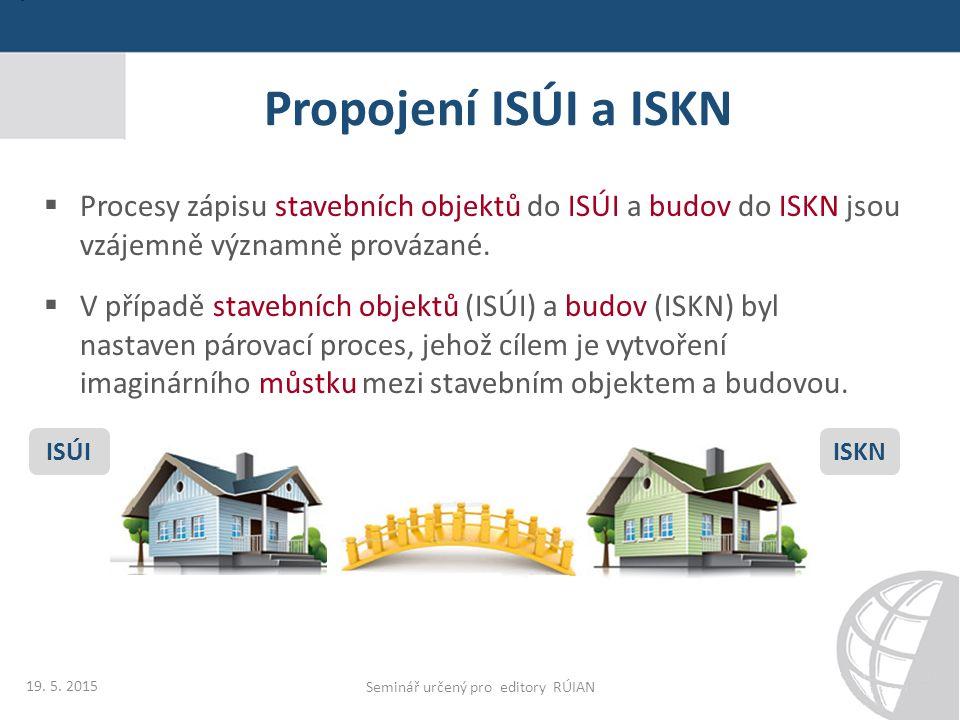 Propojení ISÚI a ISKN  Procesy zápisu stavebních objektů do ISÚI a budov do ISKN jsou vzájemně významně provázané.  V případě stavebních objektů (IS