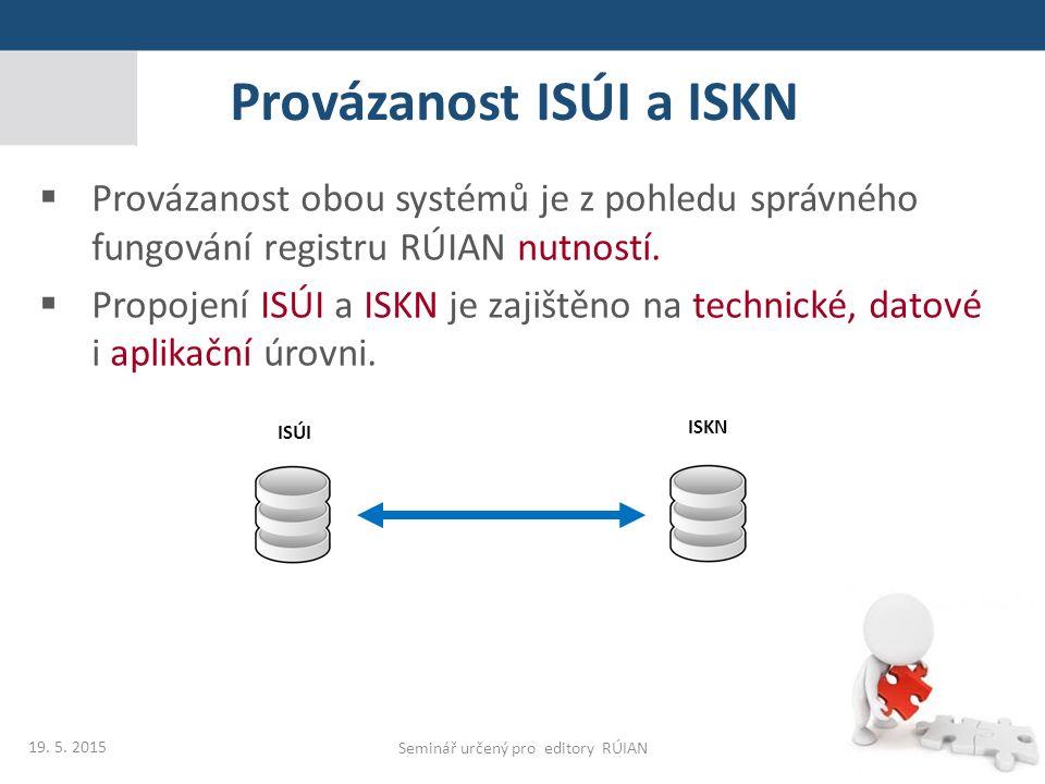 Provázanost ISÚI a ISKN Seminář určený pro editory RÚIAN ISÚI ISKN  Provázanost obou systémů je z pohledu správného fungování registru RÚIAN nutností
