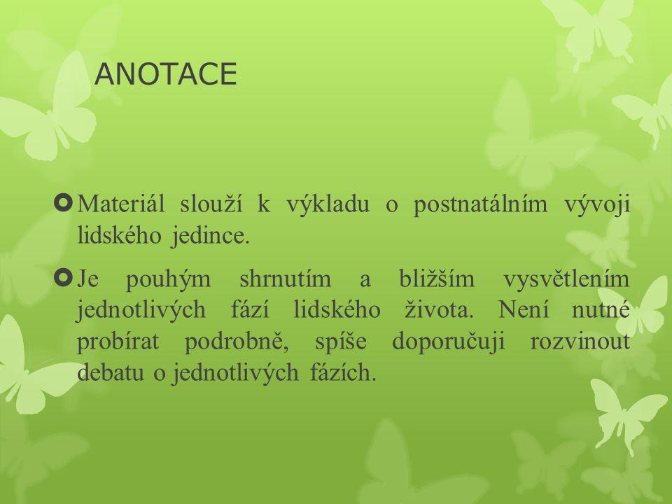 ANOTACE  Materiál slouží k výkladu o postnatálním vývoji lidského jedince.