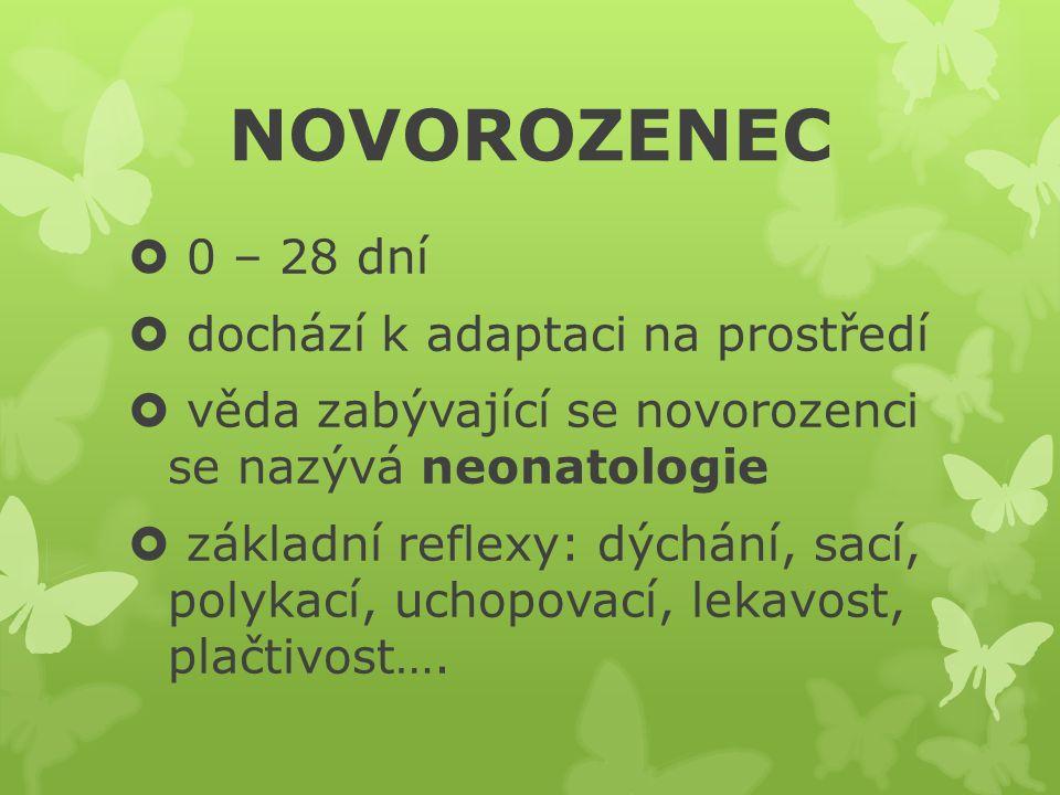  0 – 28 dní  dochází k adaptaci na prostředí  věda zabývající se novorozenci se nazývá neonatologie  základní reflexy: dýchání, sací, polykací, uchopovací, lekavost, plačtivost….