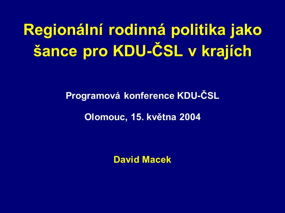 Regionální rodinná politika jako šance pro KDU-ČSL v krajích Programová konference KDU-ČSL Olomouc, 15.