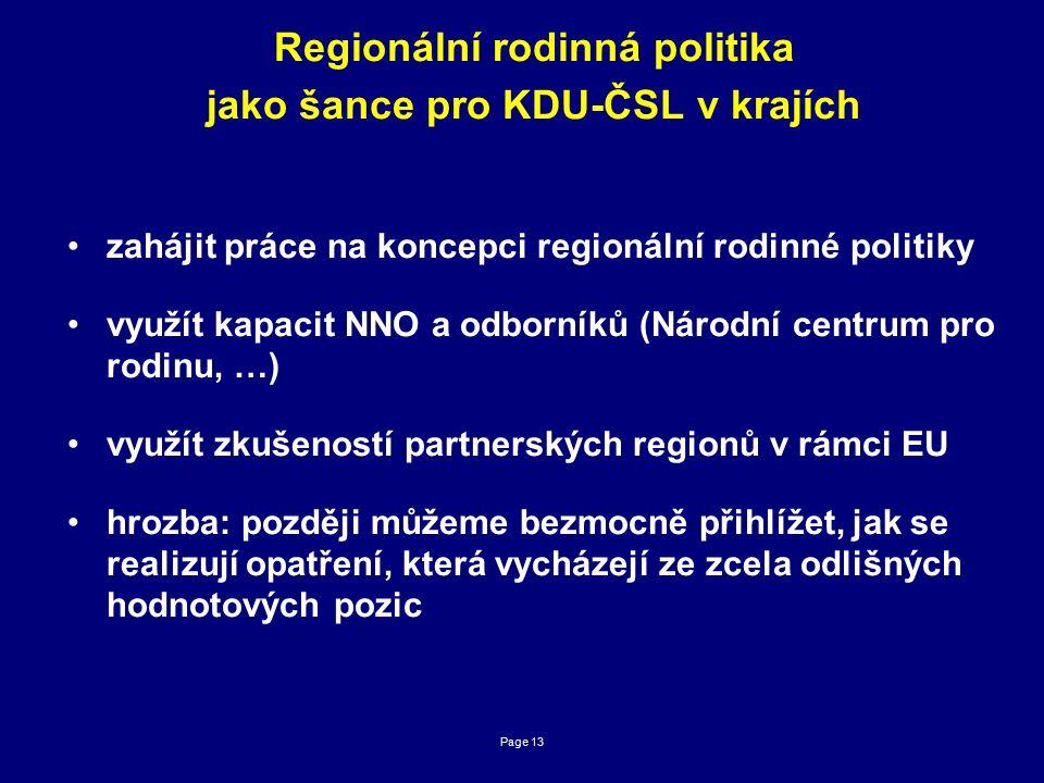 Page 13 Regionální rodinná politika jako šance pro KDU-ČSL v krajích zahájit práce na koncepci regionální rodinné politiky využít kapacit NNO a odborníků (Národní centrum pro rodinu, …) využít zkušeností partnerských regionů v rámci EU hrozba: později můžeme bezmocně přihlížet, jak se realizují opatření, která vycházejí ze zcela odlišných hodnotových pozic