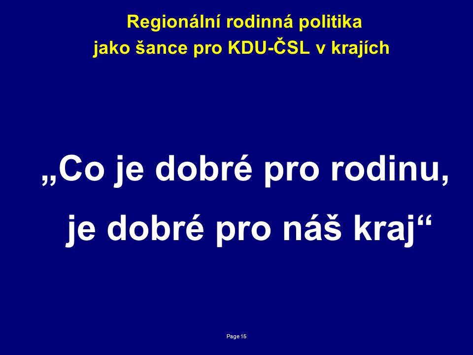"""Page 15 Regionální rodinná politika jako šance pro KDU-ČSL v krajích """"Co je dobré pro rodinu, je dobré pro náš kraj"""