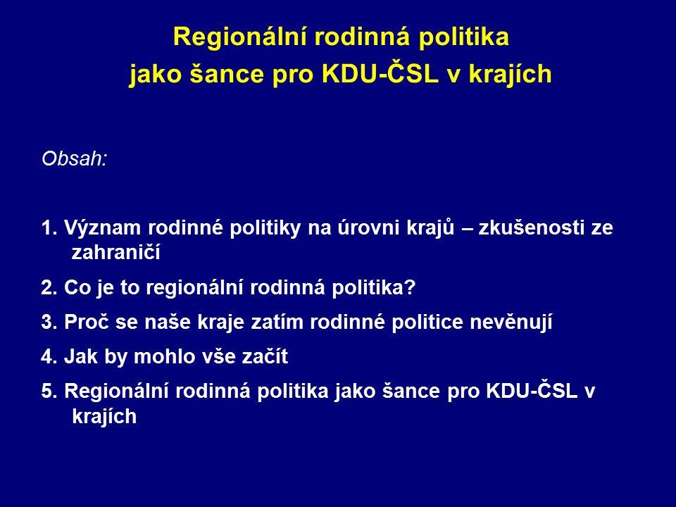Regionální rodinná politika jako šance pro KDU-ČSL v krajích Obsah: 1.