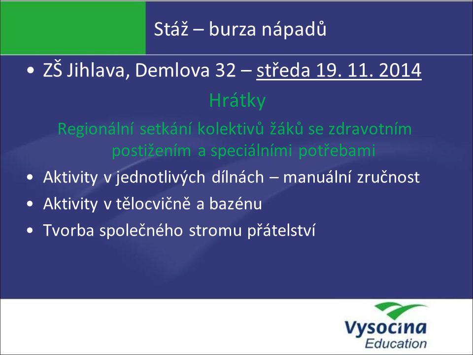Stáž – burza nápadů ZŠ Jihlava, Demlova 32 – středa 19. 11. 2014 Hrátky Regionální setkání kolektivů žáků se zdravotním postižením a speciálními potře