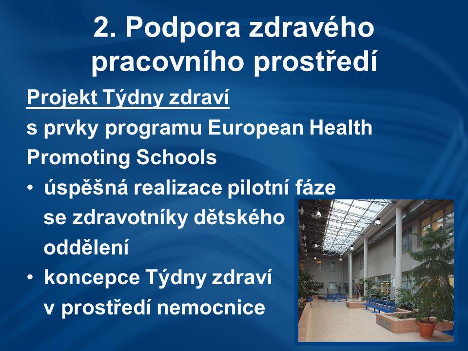 2. Podpora zdravého pracovního prostředí Projekt Týdny zdraví s prvky programu European Health Promoting Schools úspěšná realizace pilotní fáze se zdr