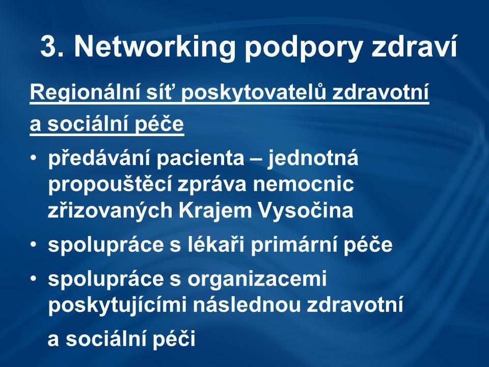 3. Networking podpory zdraví Regionální síť poskytovatelů zdravotní a sociální péče předávání pacienta – jednotná propouštěcí zpráva nemocnic zřizovan