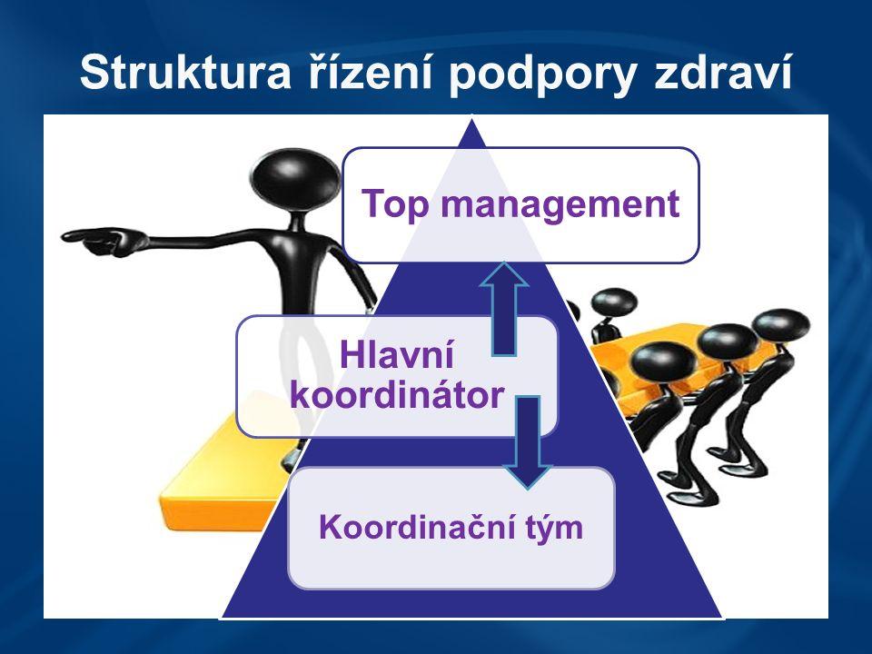 Struktura řízení podpory zdraví Top management Hlavní koordinátor Koordinační tým