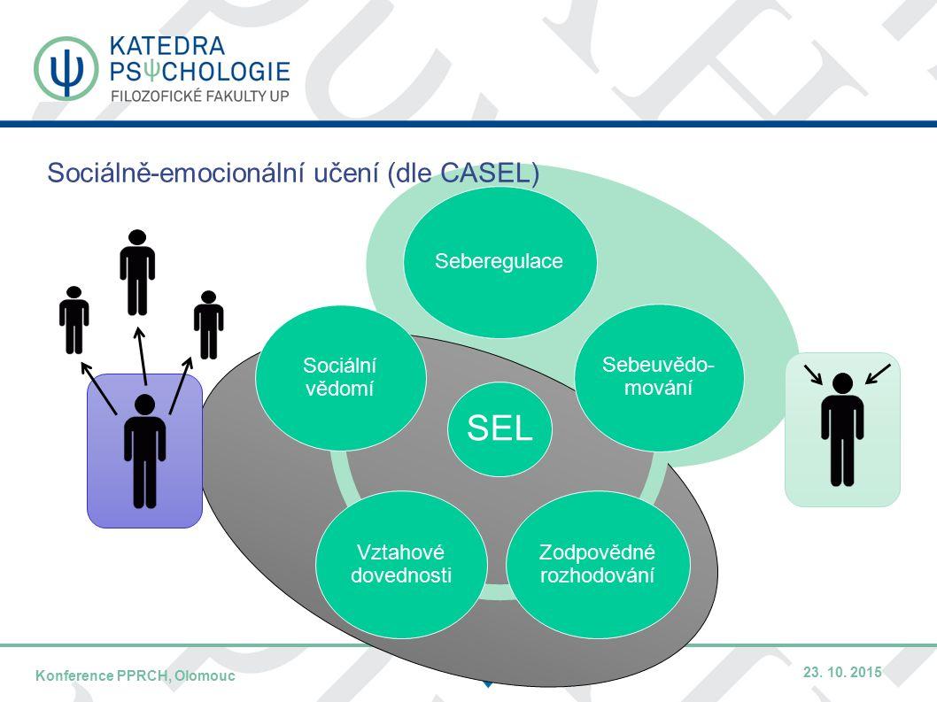DATUM / PŘEDNÁŠEJÍCÍNÁZEV KONFERENCE – KRÁTCE / MÍSTO KONFERENCE Sociálně-emocionální učení (dle CASEL) SEL Seberegulace Sebeuvědo- mování Zodpovědné rozhodování Vztahové dovednosti Sociální vědomí Konference PPRCH, Olomouc 23.