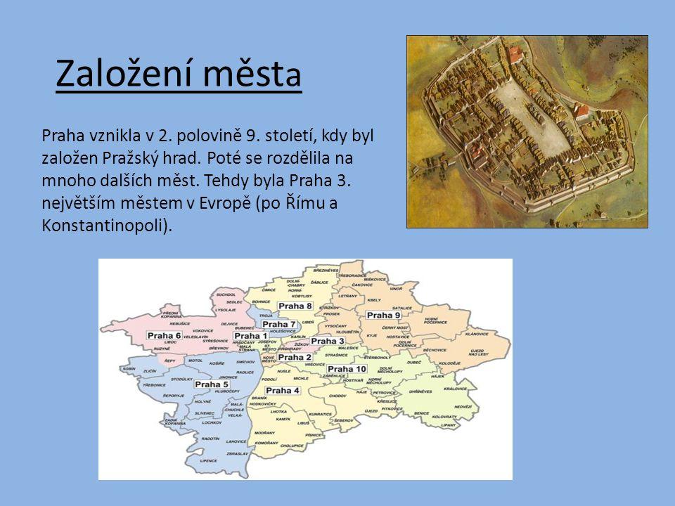 Založení měst a Praha vznikla v 2. polovině 9. století, kdy byl založen Pražský hrad.