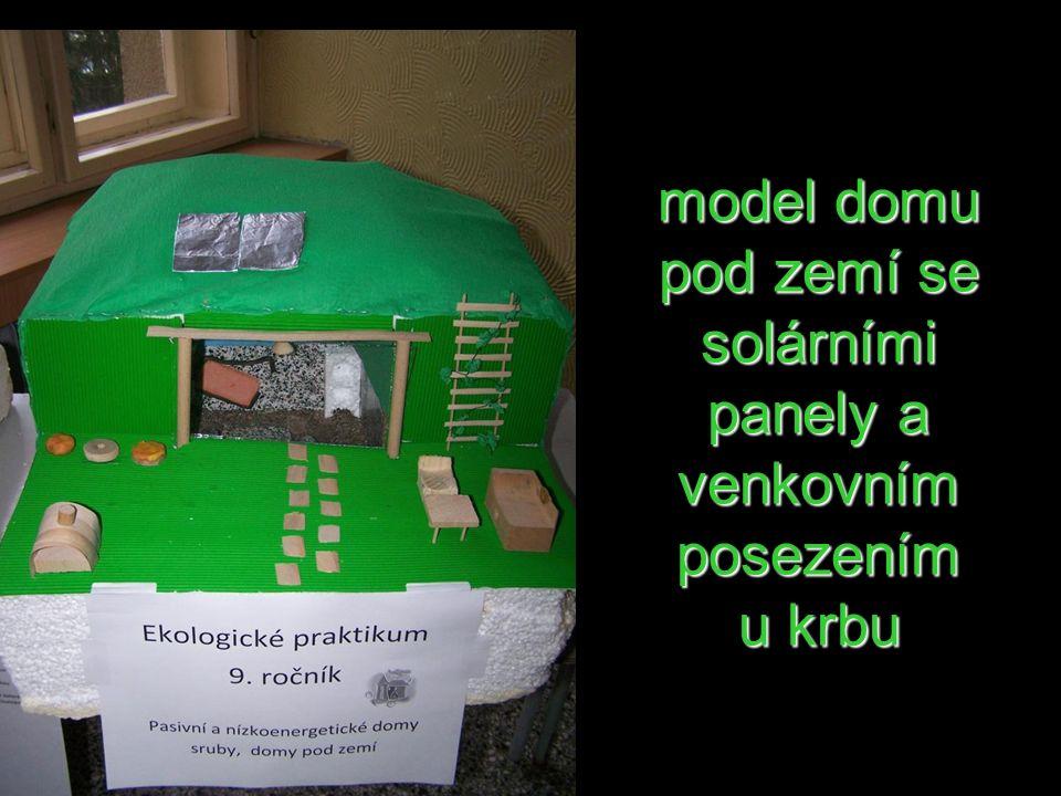 model domu pod zemí se solárními panely a venkovním posezením u krbu